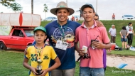 Acompanhante Lucas e criança Rafael com 5 peixes com os respectivos tamanhos (12,13,11,12,5 e10 cm), somando 58,5 cm.